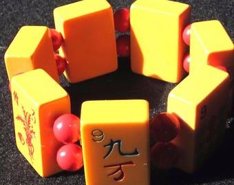 Vintage Bracelet Bakelite Mahjong Butterscotch Stretch Tested