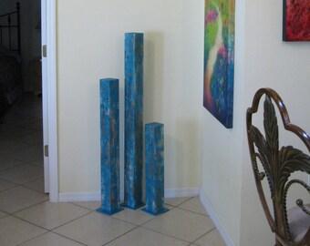 Wood Floor Sculpture | Turquoise Modern Art | Wood Sculpture | Turquoise Paintings | Abstract Sculpture | Wood Art | Modern Sculpture