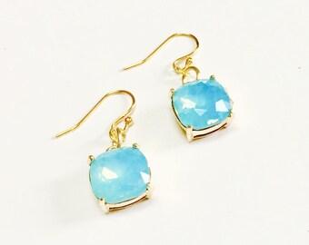 Crystal Cushion Earrings, Drop Earrings, Something Blue, Crystal Earrings, Cushion Cut Earrings, Bridesmaid Earrings, Bridal Jewelry