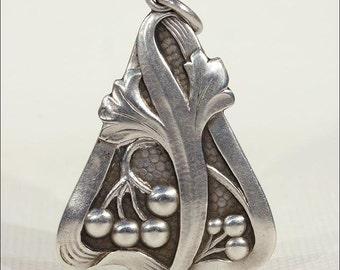 Antique Art Nouveau Silver Pendant by Lutz & Weiss, Ginko Leaf