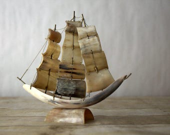 Vintage Handmade Horn Pirate Ship Model