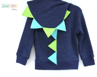 3T Navy Dinosaur Hoodie with Aqua & Green Spikes