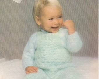 Baby Dungarees & Sweater, Original Vintage Knitting Pattern, Patons B7167