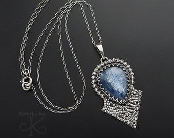 Frosty amulet - silver necklace with kyanite, fine jewelry, pmc jewelry, handmade jewelry