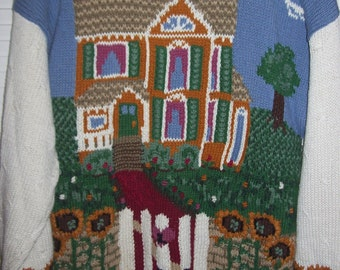 """Vintage Northern Isles Hand-Knitted Pullover  """"Home Sweet Home"""" Sweater XL"""