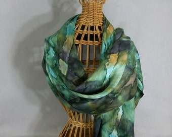 "Silk Scarf "" Moss Green Blend"", Hand Painted Silk Jacquard Scarf"