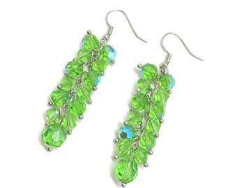 Peridot Green Earrings, Peridot Crystal Earrings, Crystal Cluster Earrings, August Birthstone Earrings, Green Crystal Earrings, Long Earring