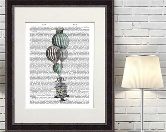 Hot Air Balloon print and BirdCage 1 Butterfly decor butterfly print butterfly decor vintage poster whimsical wall art master bedroom decor