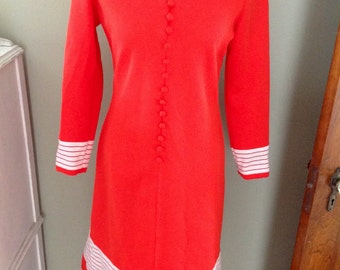 Vintage Leslie Fay Stewardess dress..... Red with accents stripes....front buttons....long sleeves