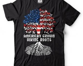 American Grown Viking Roots T-Shirt American Viking Tee Shirt