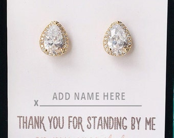 Bridesmaid Earrings Wedding Clip on Gold Tear Drop Earrings Crystal Gold Jewelry Earrings Bridesmaid Gift E331-G-Clip
