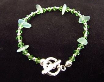 Green Sea Glass Bracelet/ Green Beach Glass Bracelet/ Green Swarovski Crystal Bracelet/ Handmade/ Hand Crafted