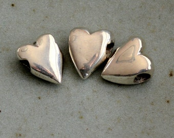 Heart Beads, Heart Necklace, Heart Jewelry, Sterling Silver Heart Beads, 925 Silver Hearts, Silver Beads, Pack of 3, ST17-024