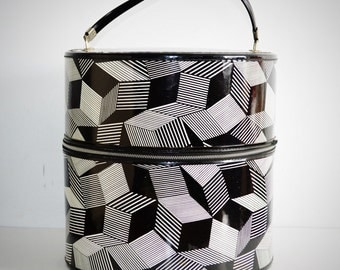 Vintage Graphic Cubist Black and White Hat Box, Overnight Bag, Train Case. Luggage, Travel