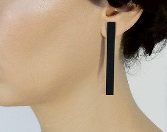 Black Bar post earrings, Minimalist earrings, Laser cut Acrylic earrings, Black Stick earrings, Modern Statement earrings, Long earrings