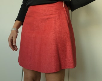 Red cotton flared skirt