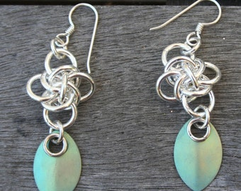 Handmade Sterling Silver Persephone Diamond Weave with Titanium Green Chain Maille Chain Mail Dangle Earrings
