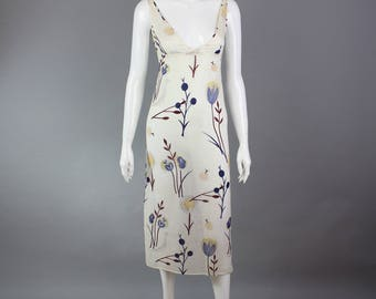 1990s Mui Mui Dress sheer white cotton slip bird woodland print festival XS