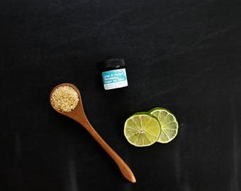 Mix| Lime & Coconut Rejuvenating Turbinado Sugar Lip Scrub in Amber Jar, various sizes