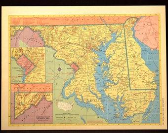 Maryland Map Delaware Map Original Vintage Colorful 1950s