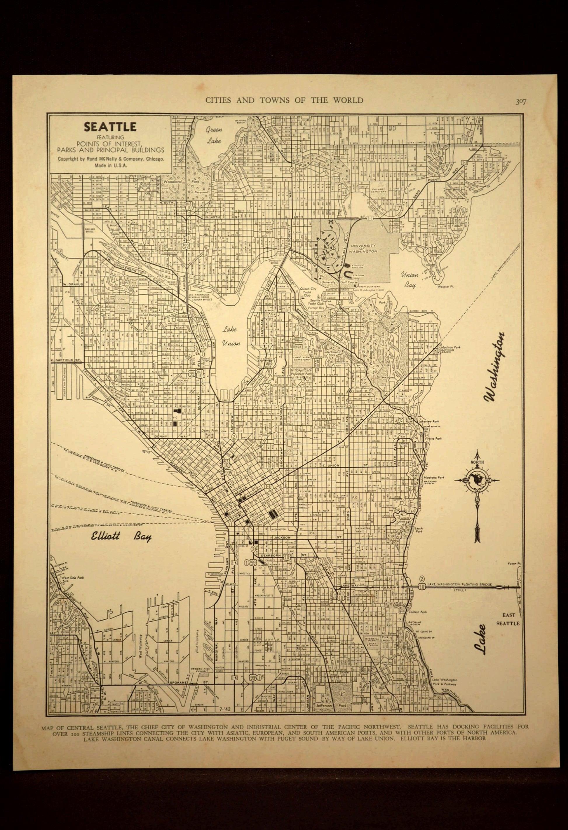 Seattle Map Seattle Street Map Vintage 1940s Original 1945