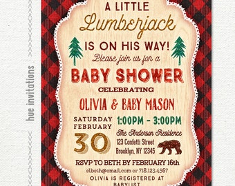 lumberjack baby shower invitation boy, winter rustic baby shower invitation, red plaid flannel bear cub little man baby shower printable