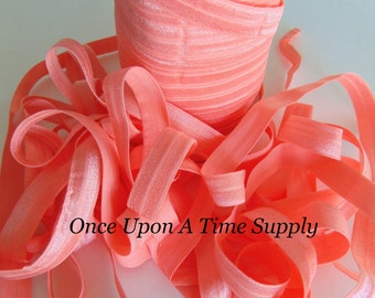 Bright Peach Fold Over Elastic for Baby Headbands - 5 Yards of 5/8 inch FOE - Craft Embellishment - Solid Color Colour Elastic By The Yard