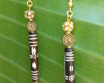 STUNNING Handmade Tribal Earrings, Boho, Warrior, Gypsy, Bone, Rhinestone, Goddess, Summer, Sexy, Unique,  (Enchanted Dance earrings)