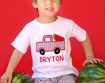 Boy Watermelon Shirt with Watermelon Truck and Embroidered Name