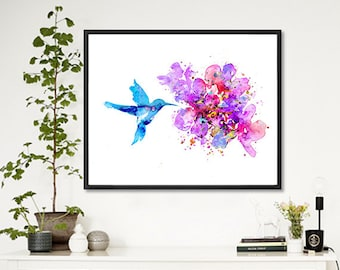 Hummingbird print, watercolor art, watercolor print,  bird art, flower art, living room decor, floral poster, flower wall art - F264