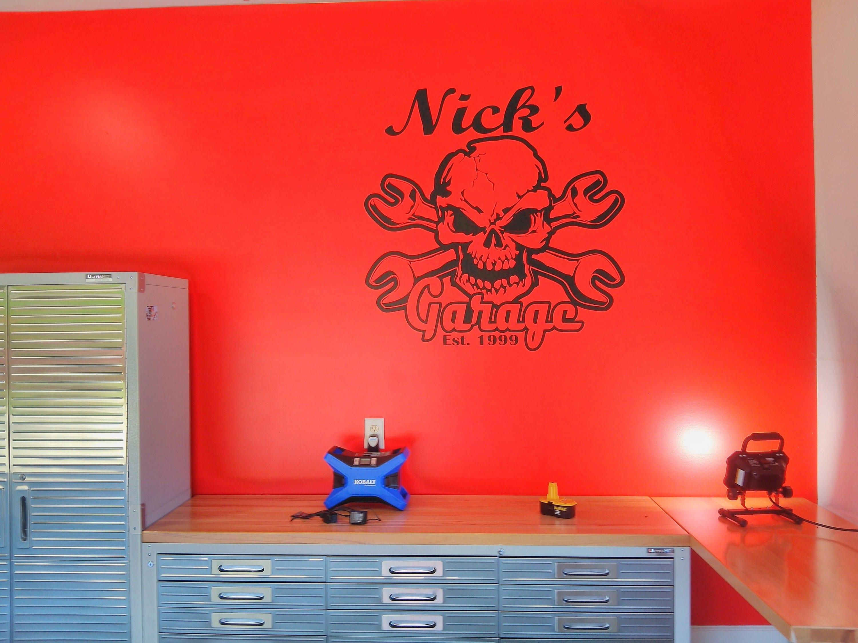 Skull And Crossbone Garage Decal CUSTOM Name Established Year - Custom vinyl wall decals for garage
