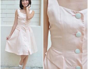 1940 Vintage Dress/ Peach Swing Dress/ Small Dress/ Medium Dress/ Sleeveless Dress/ Peach Dress/ Summer Dress/ Spring Dress/ Dance Dress