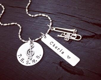 Trombone Necklace   Trombone Jewelry   Band Necklace   Band Jewelry   High School Marching Band Jewelry   Music Jewelry   Band Gift