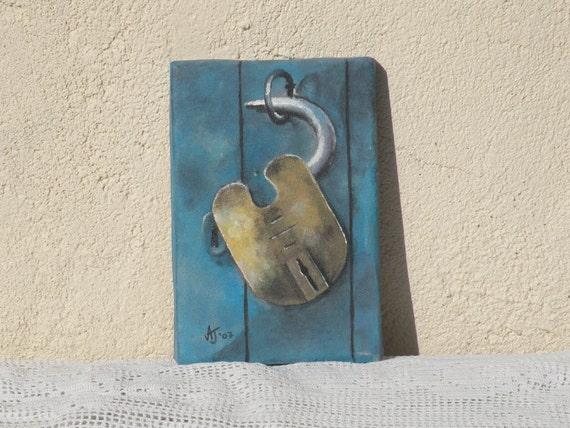 Original miniature padlock acrylic painting, shabby chic painting, still life painting, original art, original painting, contemporary art