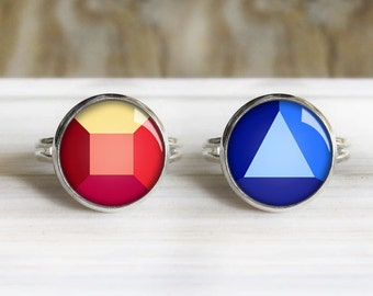 Sapphire & Ruby Ring Set- Adjustable Silver Rings