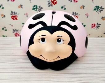 Pretty Pink Ladybug Piggy Bank, Ladybug Piggy Bank, Piggy Bank, Bank, Pink Piggy Bank, Pink Bank, Baby Shower Gift, Flower Girl Gift