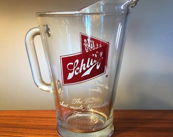 Vintage Schlitz beer large heavy glass pitcher