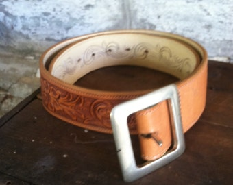 Ralph Lauren Belt Hand Tooled Western Belt Silver Buckle  Vintage Polo Indian Tribal Native Tribal Mens Womens Brown Leather Mexican Tooled
