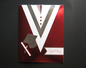 Graduation Gown Card (Red & Silver)