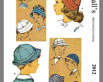 """Vintage McCall's Children's Button On Hats Fabric Sewing Pattern Sz 20"""" #2012"""