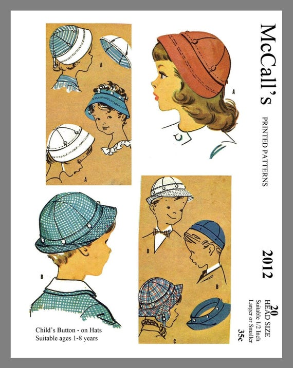 Vintage mccall 39 s children 39 s button on hats fabric sewing for Children s material sewing