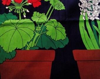 Vintage Scandinavian Flower Pot Fabric Wall Art Unused