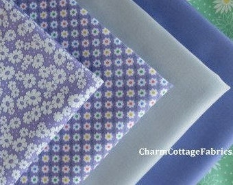 "SALE Fat Quarter Bundle 5 Retro Prints ""30's Playtime Favorites"" Bella Solids Moda FQ 18"" x 21/22"" 100% Cotton Lilac, Green, Zen Grey"