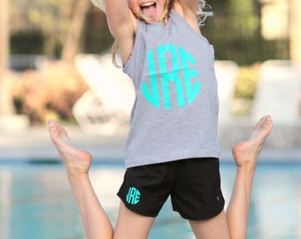 Youth Monogram Tank Shorts Set, Monogrammed Tank, Monogrammed Shorts, Monogrammed Gym Shorts, Cheer practice outfit, cheerleading, soccer