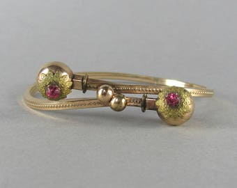 VICTORIAN antique bracelet with pink paste gems, double ball flower antique bangle bracelet, unique gold plated vintage gemstone bracelet