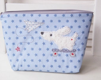 Bags with name, diaper bag, bags, children, and blue embroidered diaper bag, application, dog, with stars