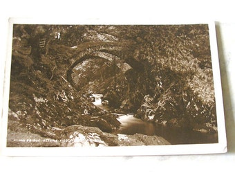 Vintage Antique Unused Postcard Betws-y-Coed Bridge 1909 Wales British early 1900s Edwardian Photograph UK SKU E