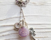 Gifts for Her/ Mermaid Gift Ideas/ Druzy Charm Necklaces/ Holiday Gift Guide/ Mermaid Jewelry/ Sterling Silver Mermaid Gift Ideas/