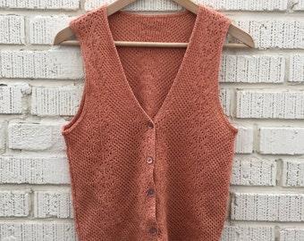 Vintage Brown Knit Vest. Small. Medium. Sleepless.