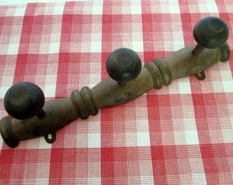 Wooden Coat Rack 3 peg French wall mounted